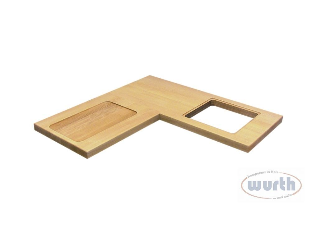 Arbeitsplatte Holz mit Spülen/Herdausschnitt