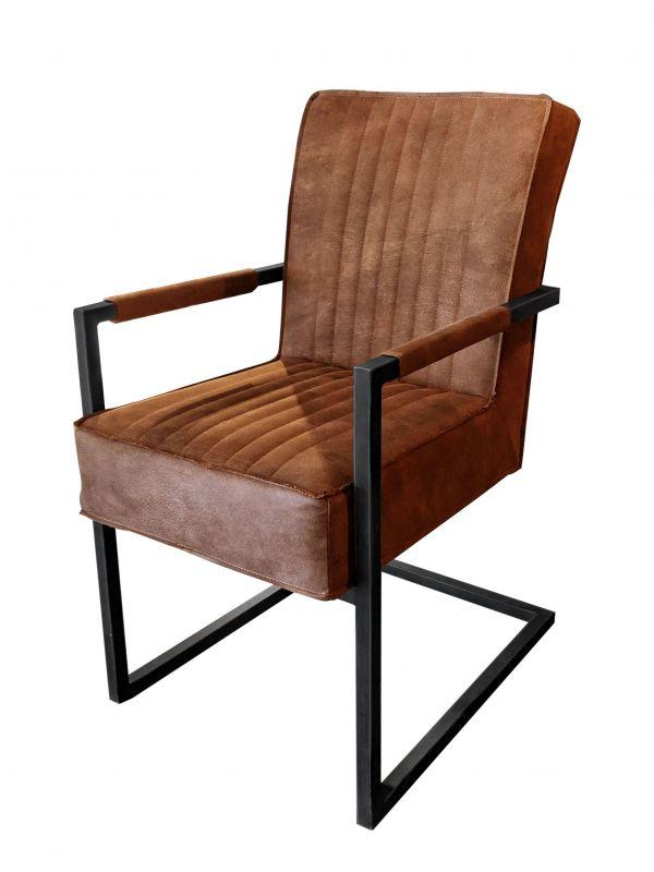 Stuhl DAVID - braun, mit Armlehne - Lederoptik