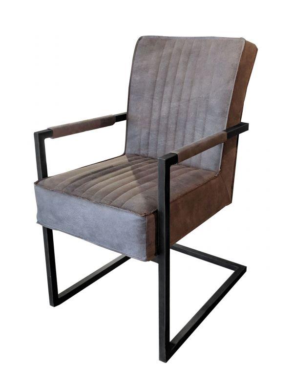 Stuhl DAVID - grau, mit Armlehne - Lederoptik