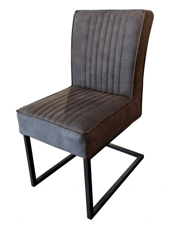 Stuhl DAVID - grau, ohne Armlehne - Lederoptik