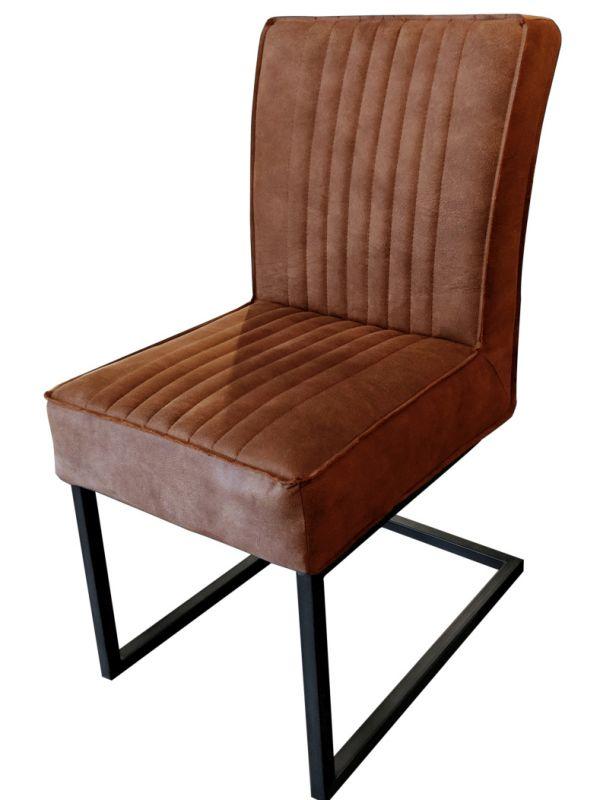 Stuhl DAVID - braun, ohne Armlehne - Lederoptik