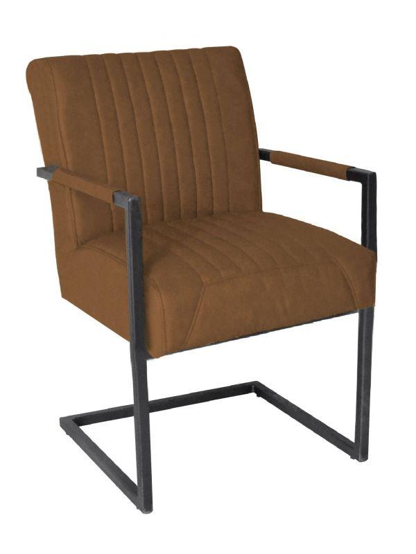 Stuhl RICHARD - braun, mit Armlehne - Lederoptik
