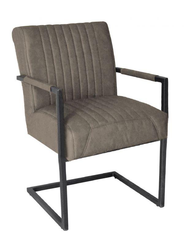 Stuhl RICHARD - grau, mit Armlehne - Lederoptik