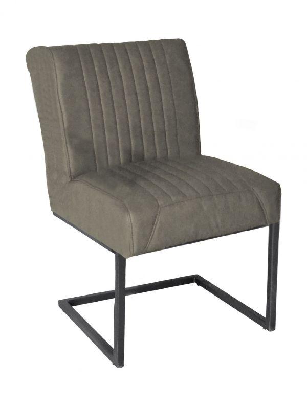 Stuhl RICHARD - grau, ohne Armlehne - Lederoptik