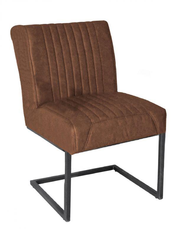 Stuhl RICHARD - braun, ohne Armlehne - Lederoptik