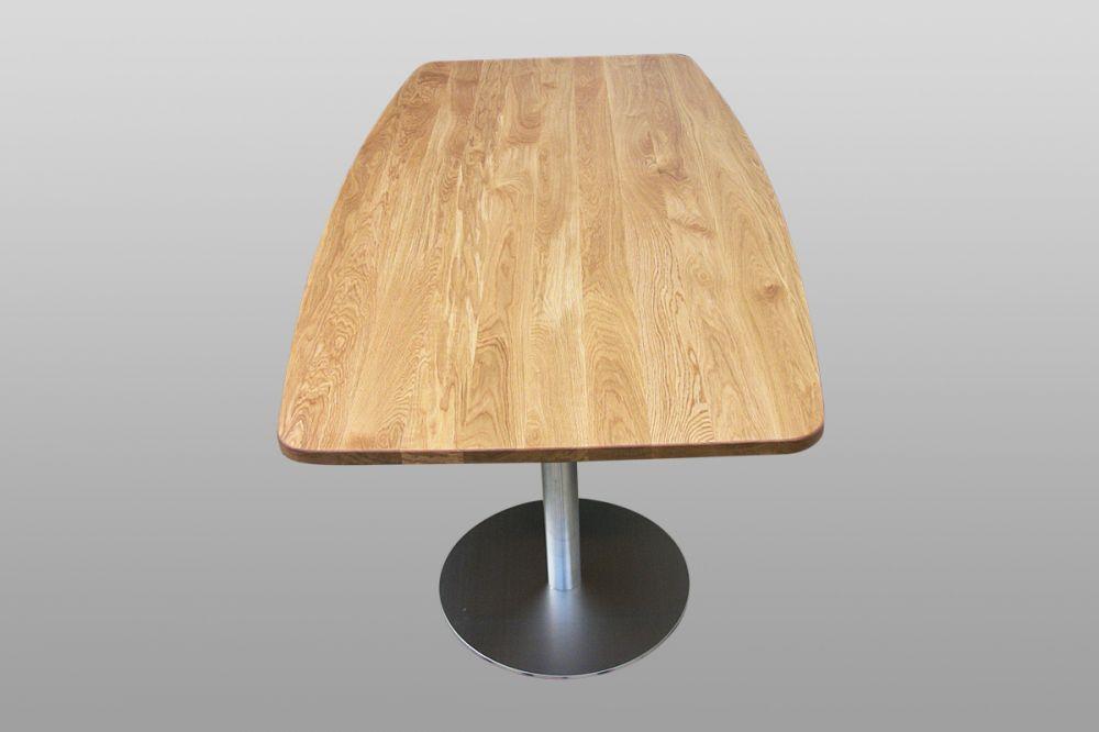 Tisch Eiche Bootsform, Edelstahl