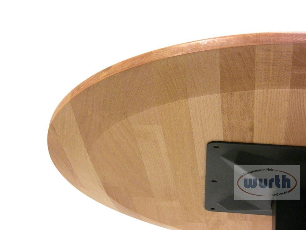 Tischplatte Holz Buche keilgezinkt, rund, Unterseite