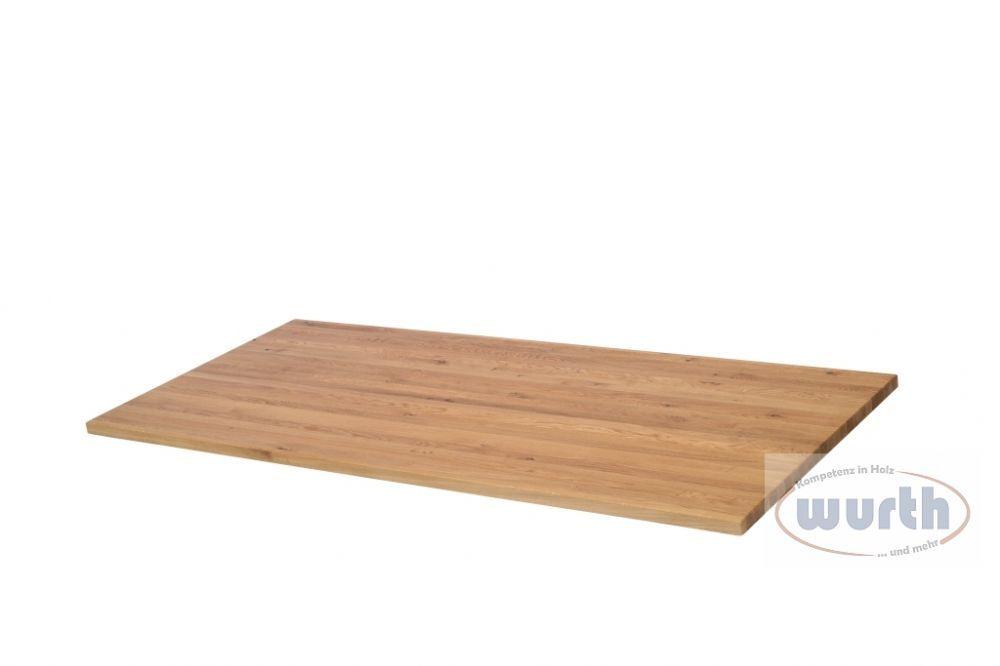 Tischplatte Holz Eiche massiv mit Fixlamellen geölt