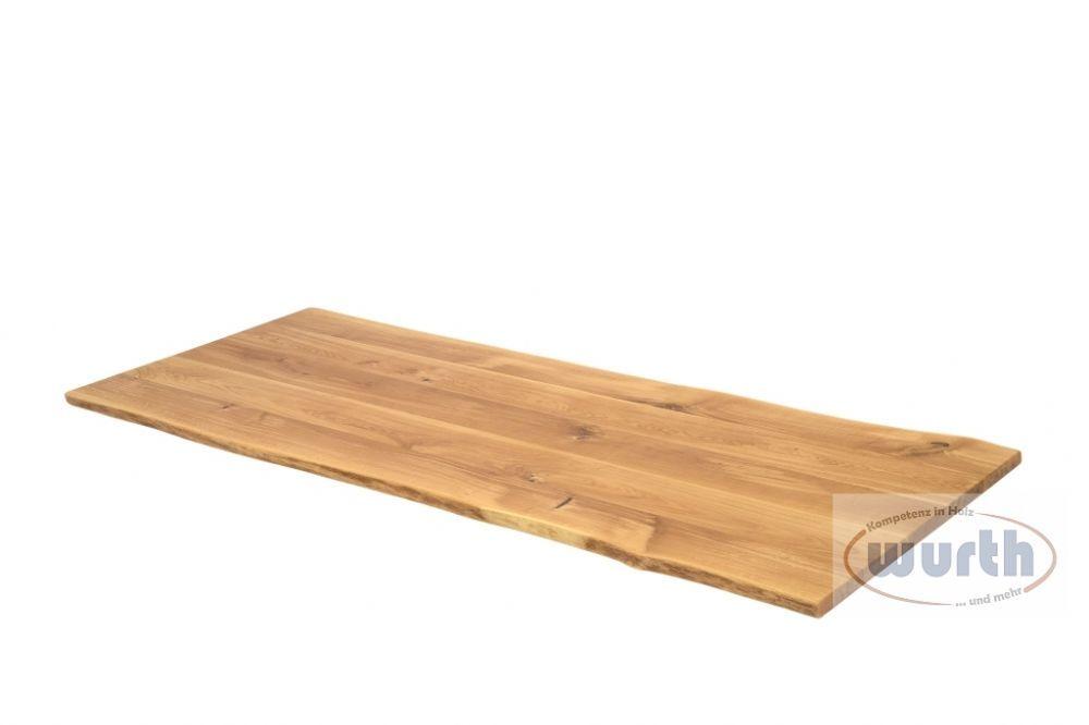 Tischplatte Eiche massiv mit Naturkante geölt