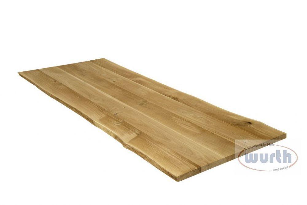 Tischplatte Holz Eiche massiv mit Naturkante