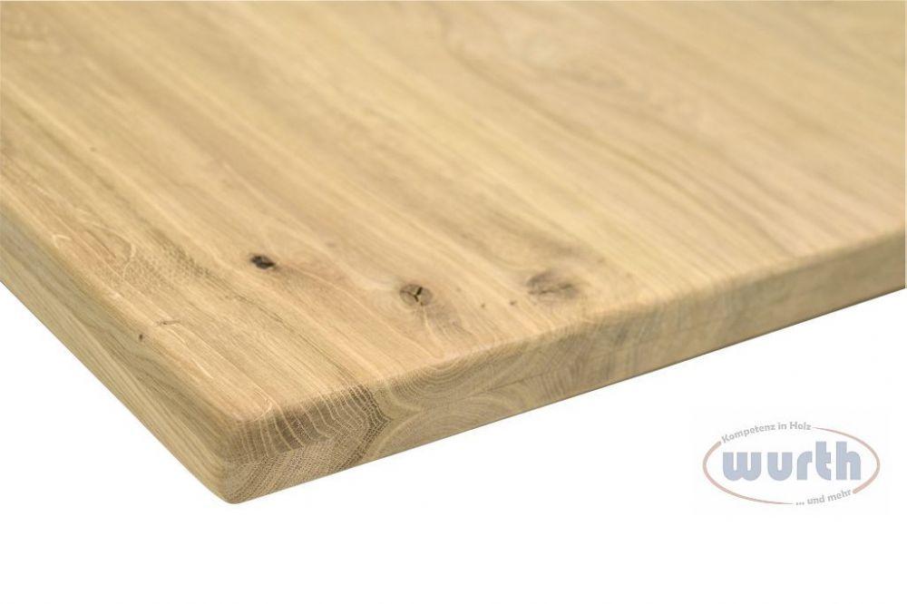 Tischplatte Holz Wildeiche massiv aufgedoppelt