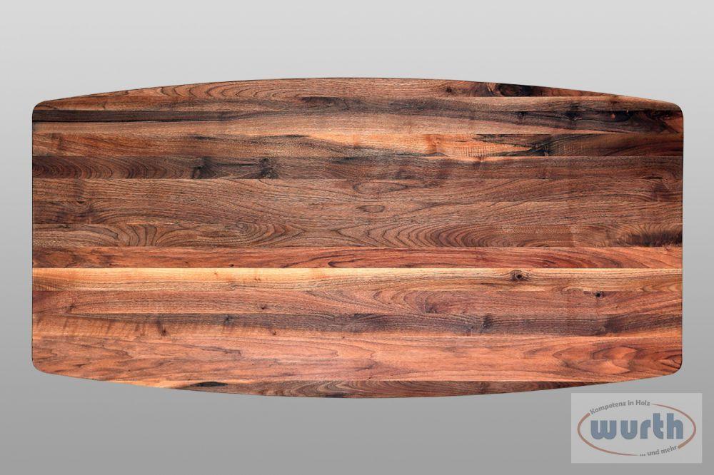 Tischplatte Nussb. rust kaukasisch Bootsform, geölt