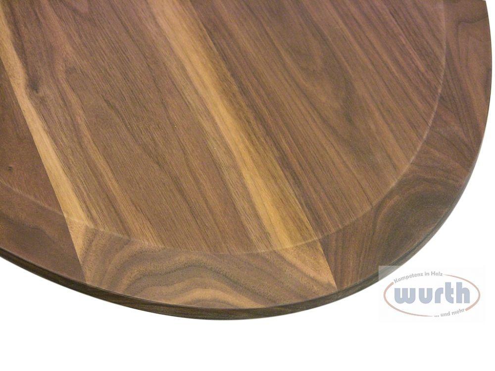 Tischplatte Holz Nussbaum elliptisch, Unterseite