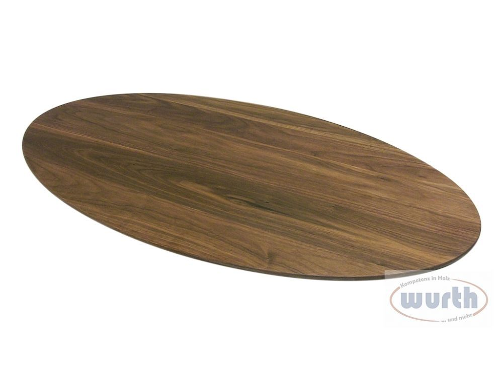 Tischplatte Holz Nussbaum massiv elliptisch