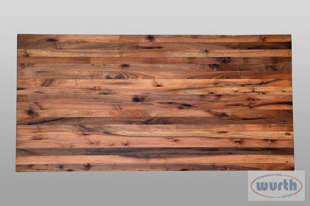 Tischplatte Nussb. rust kaukasisch rechteck., geölt