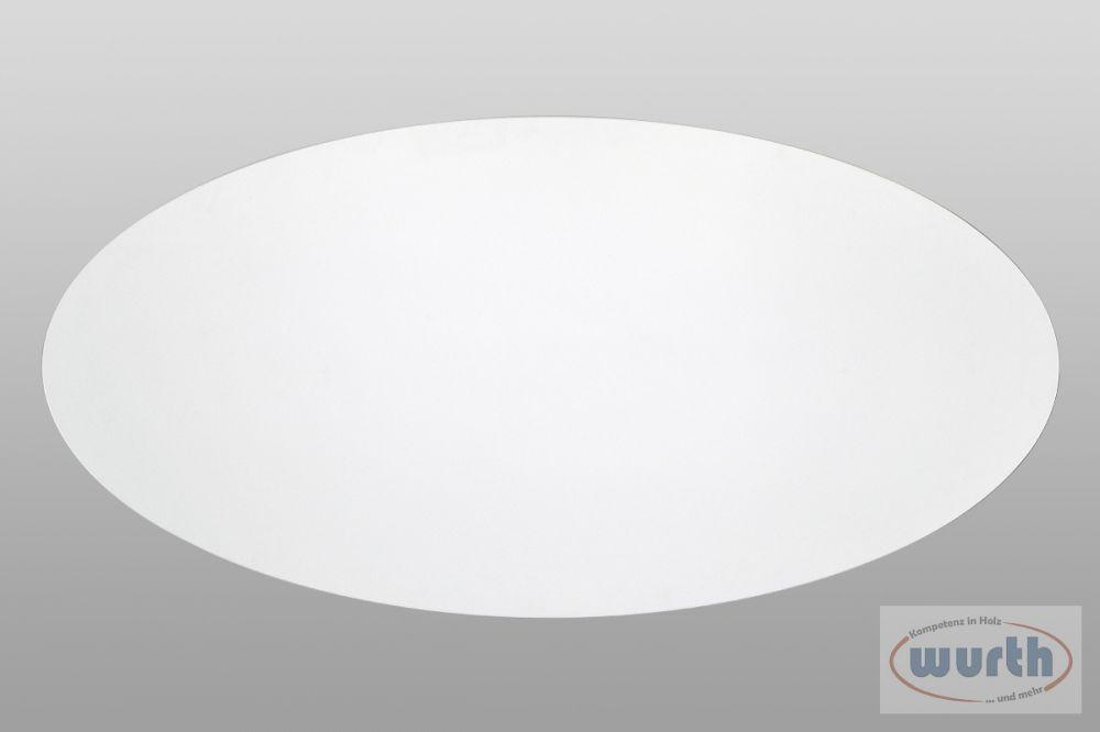 Tischplatte elliptisch weiß, MDF lackiert