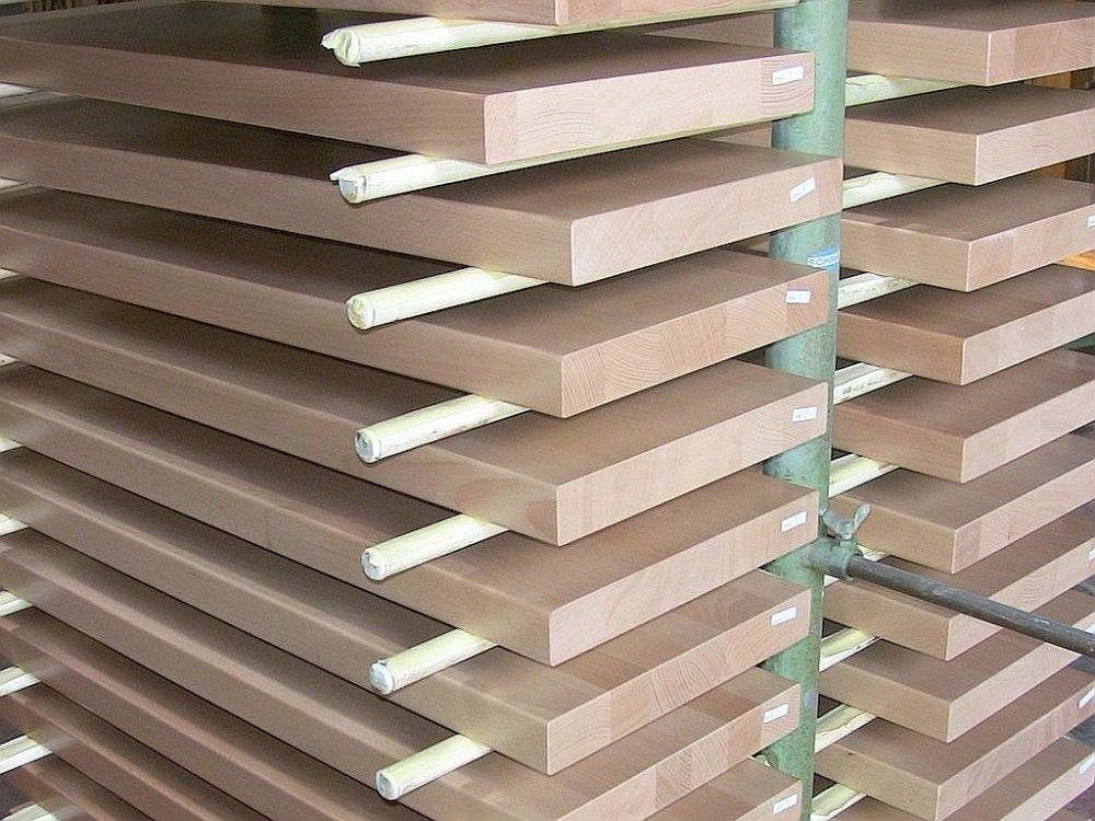Treppenstufen Holz Buche im Hordenwagen